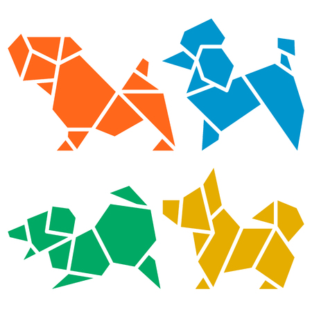 Vector Origami Dogs Icon Set. Abstract Low Poly Pet Dog Breed Sign Silhouette Isolated on White. Freehand Drawn Paper Folding Art Emblem. Template Geometric Logo Design. 2018 Chinese New Year Symbol Illustration