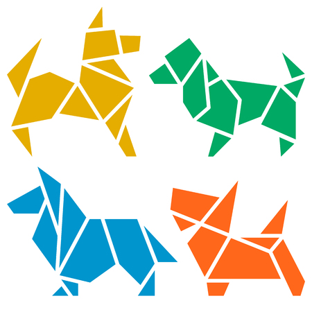 Vector Origami Dogs Icon Set. Abstract Low Poly Pet Dog Breed Sign Silhouette Isolated on White. Freehand Drawn Paper Folding Art Emblem. Template Geometric Logo Design. 2018 Chinese New Year Symbol 向量圖像