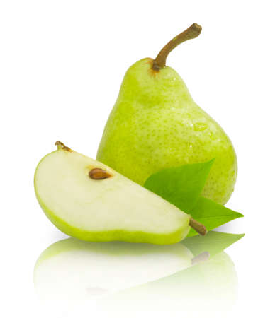 Ripe sweet green pear isolated on white background. Fresh fruit food.