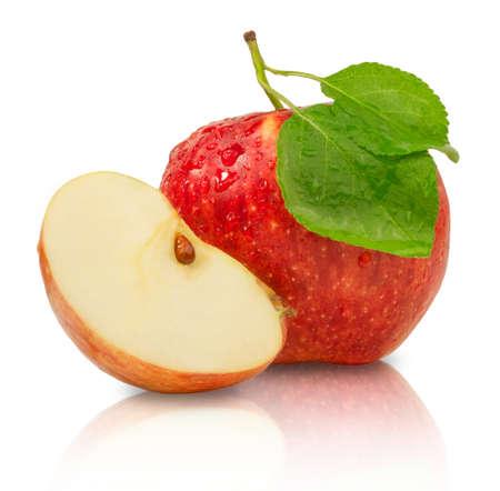 Ripe juicy red apple isolated on white background. Fresh fruit food.