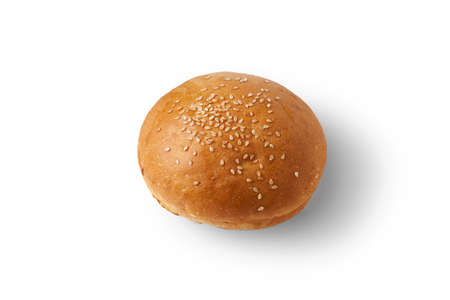 One bun with sesame seeds on a white background Stock Photo