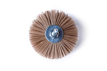 Grinding brush nylon for a drill for wood, on a white background