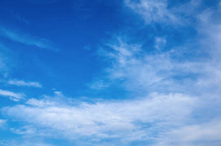 Beautiful blue sky with fleecy clouds. Abstract background.