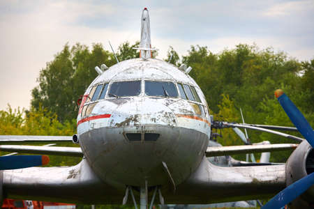 Elements of the old military plane close-up. 版權商用圖片