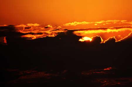 Beautiful Sunset Orange Sky and Clouds Stock Photo