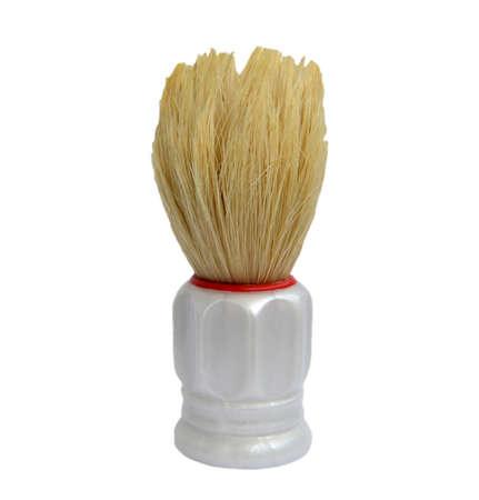 Shaving Brush Macro isolated on white background