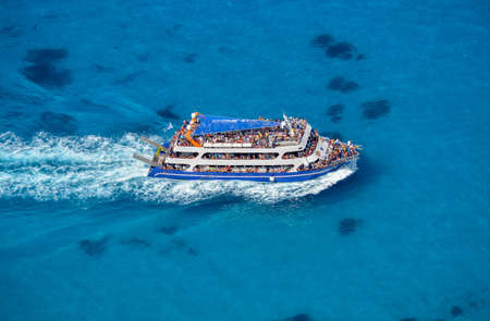 LEFKADA, GREECE: Ship in Ionian Sea