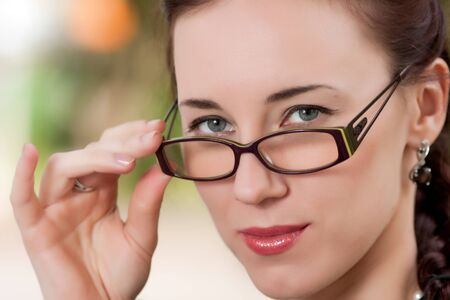 The girl wearing spectacles photo