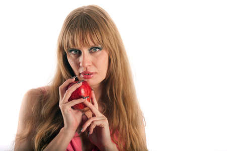 The long-haired woman with an apple Stock Photo - 14310742