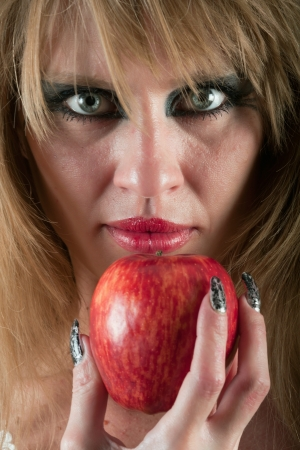 Woman s face and apple photo