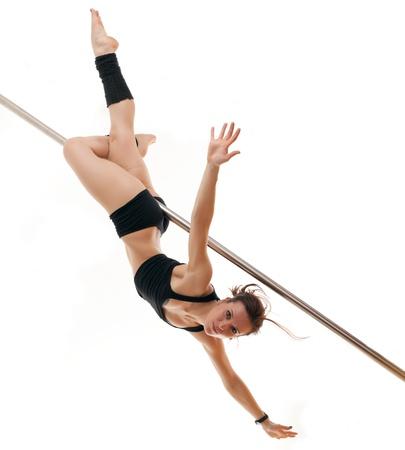 The woman keeps feet for a pole