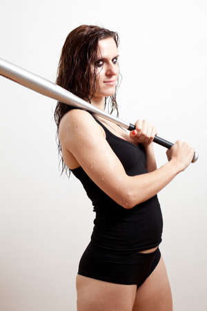 The woman the hooligan holds baseball bat photo