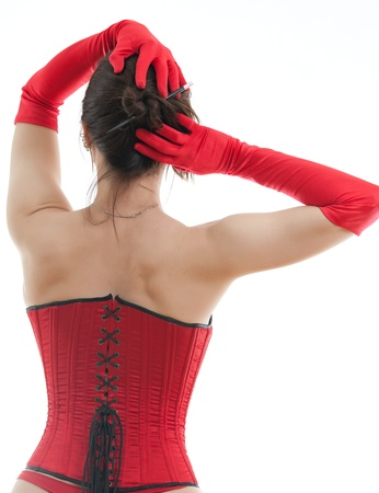 woman in a red corset
