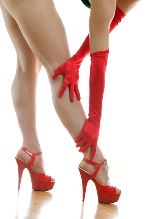 female legs in red shoes Stock Photo - 18442097