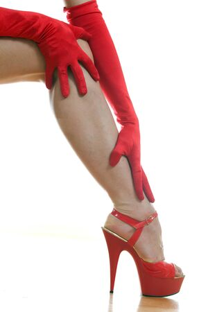 female legs in red shoes Stock Photo - 18442096