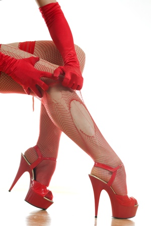 woman vomits red stockings on her leg Stock Photo - 18442111