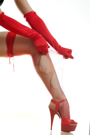 woman vomits red stockings on her leg Stock Photo - 18442109