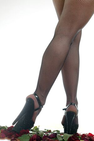 female legs in black shoes Stock Photo - 18442445