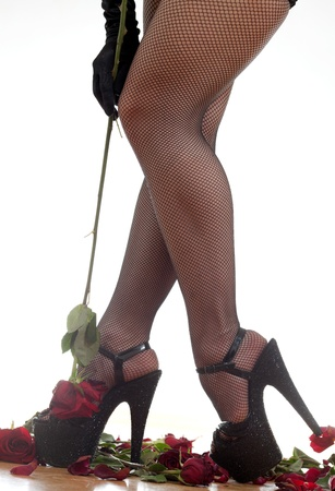 female legs in black shoes Stock Photo - 18442462