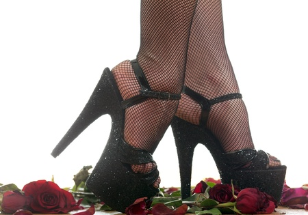 female legs in black shoes Stock Photo - 18442448