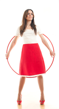 attractive woman and red hoop on a white background photo