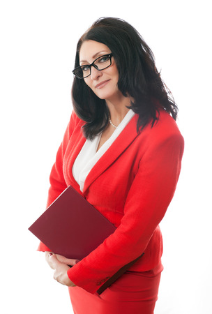 solid adult business woman holding red folder on a white background photo