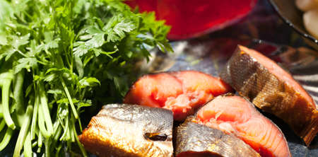red  fish: smoked red fish and parsley on the table