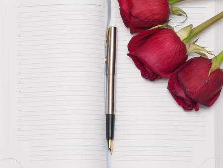 open diary: Open diary book, pen and red roses