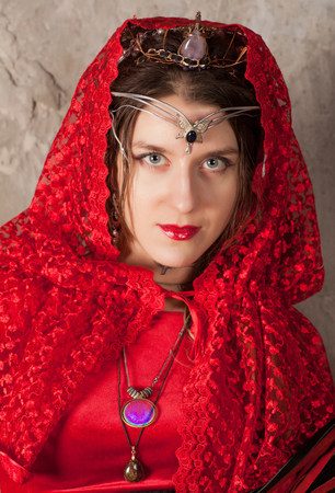 kerchief: Young woman with a red kerchief on her head
