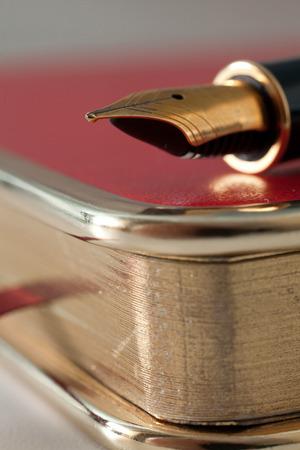 e ink: Beautiful fountain pen close-up lies on a notebook