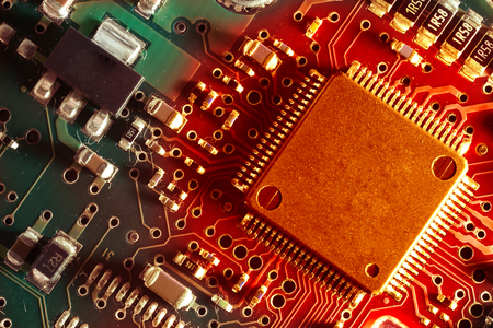 backdop: Hot processor on the motherboard closeup. Macro photo card Stock Photo