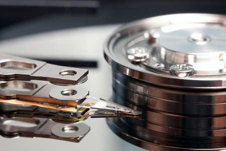 backdop: Open hard drive close up, Macro photo HDD Stock Photo