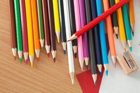 Colored pencils on the table. Photos office appliances Stock Photo