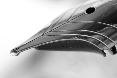 Fountain pen close-up on white. Photo closeup Pen