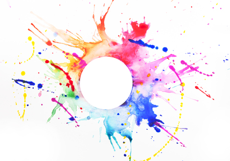 Multicolored paint on a white sheet of paper Stock Photo