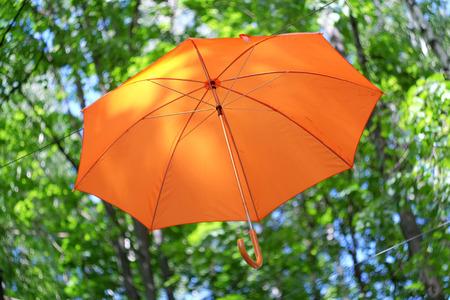 Orange umbrella on a background of green trees Stock Photo