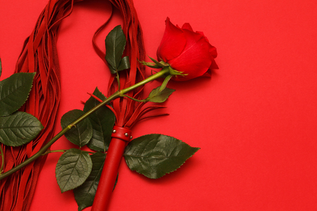 Red whip and a rose on a red background