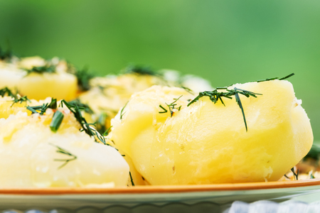 Boiled potatoes with dill in a plate close up Stock Photo