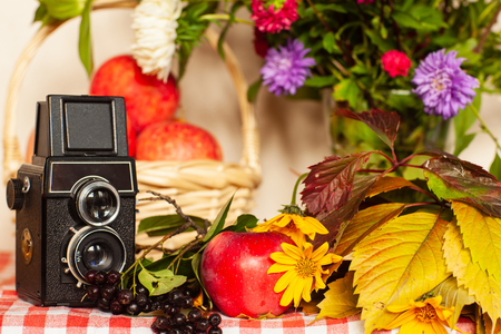 Old camera and autumn composition on the table
