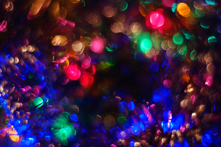 Abstract multicolored bokeh background. Colored glitter vintage lights background. Banco de Imagens