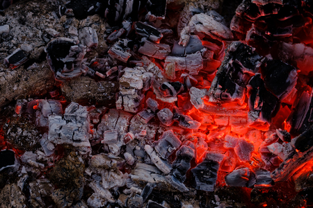 Beautiful burning glowing embers of wood close up Imagens