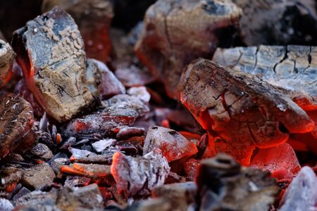 Beautiful burning glowing embers of wood close up