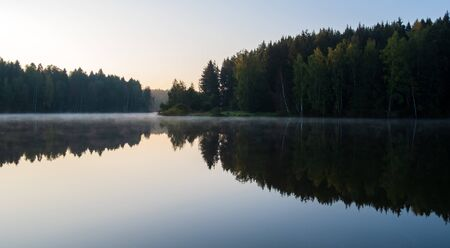 early morning on the lake in the forest