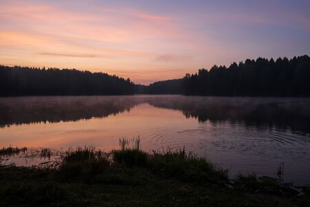 beautiful early morning sunrise over the lake in the forest 版權商用圖片 - 130145195