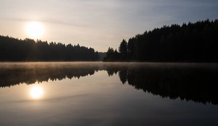 beautiful early morning sunrise over the lake in the forest