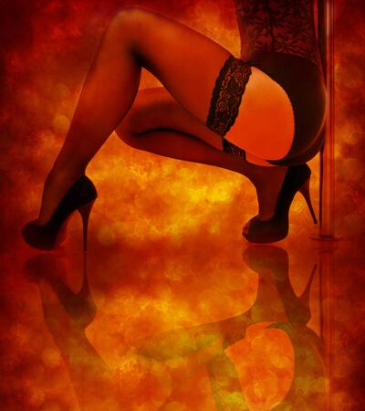 beautiful female legs in stockings and high-heeled shoes on a fiery background