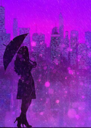 beautiful dark elegant woman silhouette with umbrella on purple city background with neon with boke and rain Фото со стока