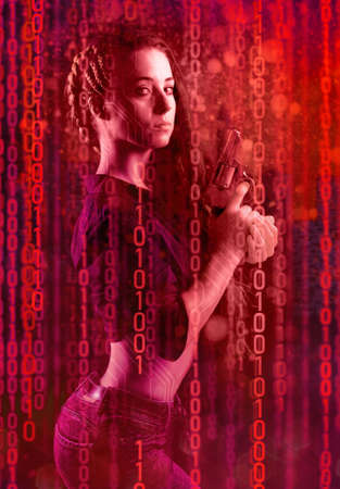 beautiful woman in cyberpunk style with a revolver in her hands against the background of a binary code