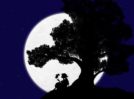 beautiful silhouette of a large tree and a woman sitting under it against the background of the night sky with stars and the moon