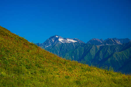 slope with grass against the backdrop of beautiful mountains with a glacier and blue sky
